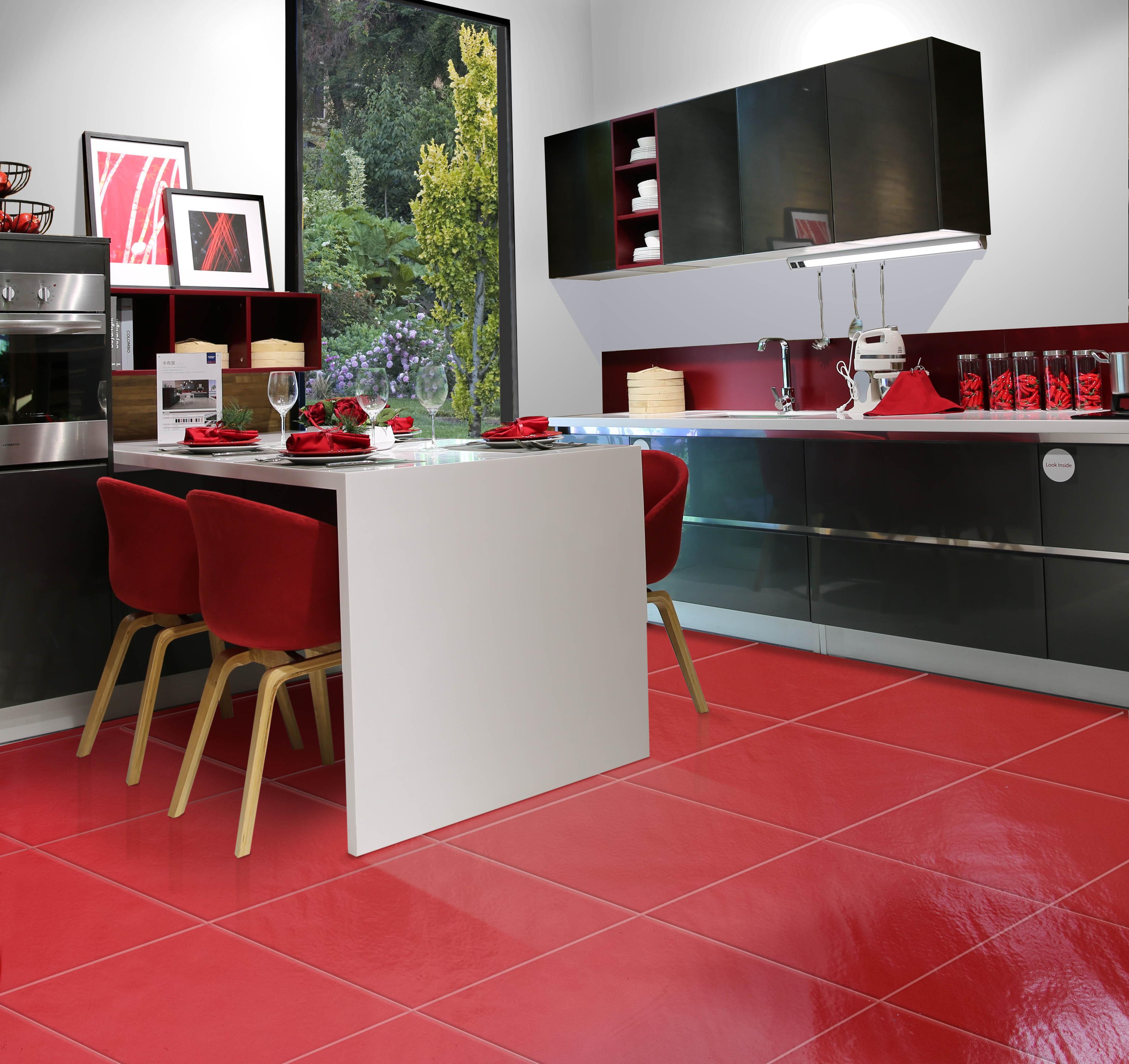 cucina rock rosso pareti bianche vetro u2nico